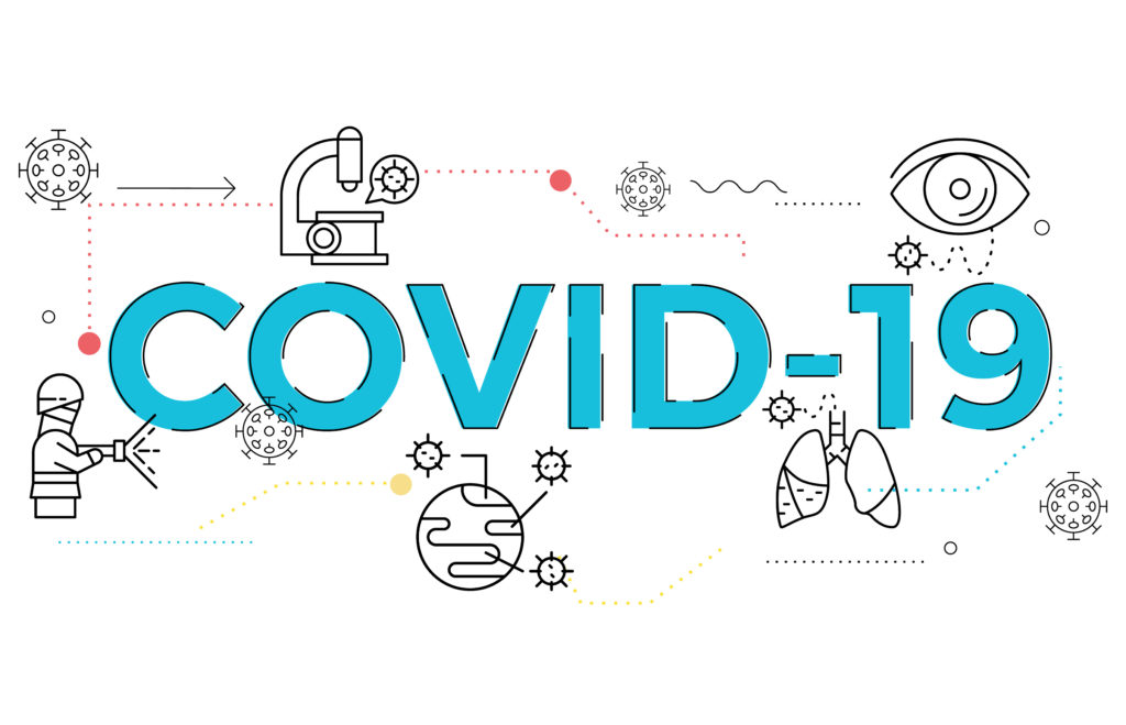 illustration of Covid-19 topic for health issue, presentation, website and hospital.